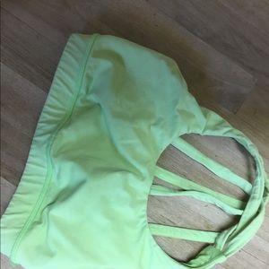 Luluman mint green string back sport bra top, S